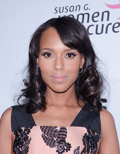 Actress Kerry Washington wearing Le Vian 14K strawberry gold, vanilla and chocolate diamond hoop earrings to the Susan G. Komen for the Cure's Honoring the Promise Benefit at the John F. Kennedy Center for the Performing Arts in Washington, D.C., on Oct. 28, 2011.