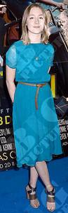 Actress Saoirse Ronan wears a Topshop silk midi dress.