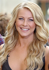 """Julianne Hough wears M.C.L by Matthew Campbell Laurenza pave hoop earrings on """"Extra"""" at the Grove on Oct. 4, 2011."""
