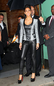 Singer Nicole Scherzinger wears Hellmuth white gold diamond hoops and M.C.L by Matthew Campbell Laurenza rings in big pave bubblegum and Starstruck pave at ABC studios in New York on Oct. 12, 2011.
