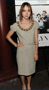 """Actress Zoe Kazan a Dior beige suede dress with embroidery to the premiere of """"My Week With Marilyn"""" at the New York Film Festival on Oct. 9, 2011."""