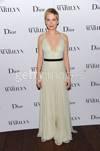 """Actress Michelle Williams wears a Dior  pale green silk chiffon gown with a black beaded belt to the premiere of her movie """"My Week With Marilyn"""" at the New York Film Festival on Oct. 9, 2011."""