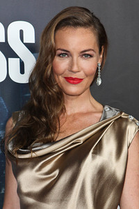 """Actress Connie Nielsen wears Amrapali 14K diamond earrings to the premiere of the new Starz series, """"Boss,"""" at the Arclight Theatres in Hollywood on Oct. 6, 2011."""