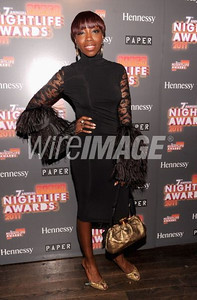 Singer Estelle wears Pamella Roland's black matte jersey dress with lace and ostrich feather sleeves from the Fall 2011 Collection to Paper Magazine Nightlife Awards on Sept. 27, 2011.