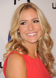 Kristin Cavallari wears Tresor Dazzle 18K gold morganite and diamond studs to the Just Dance 3 launch at the Beverly on Oct. 4, 2011.