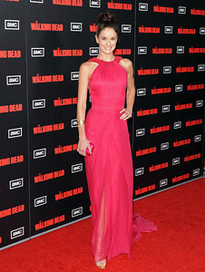 """Actress Sarah Wayne Callies wears Edition by Georges Chakra's raspberry silk chiffon gown with beaded embellishment to the season premiere of her show, """"The Walking Dead,"""" at L.A. LIVE on Oct. 3, 2011. Callies accessorizes with a Hellmuth gold croco pattern cuff with cubic zirconia and Amrapali 18K gold button earrings."""