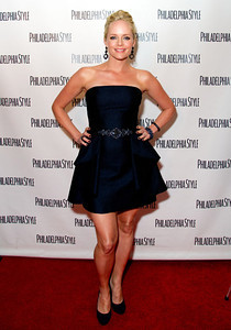 """Marley Shelton wears M.C.L by Matthew Campbell Laurenza jewelry including pave four petal flower with windmill drop earrings, pave croco pattern bangle in blue sapphire, pave twist bangle, pave bangle with blue sapphires and a pave edge ring to """"The Mighty Macs"""" premiere and Philadelphia Style magazine event on Oct. 14, 2011."""