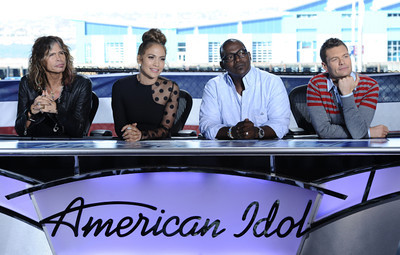 "Jennifer Lopez, with co-stars Steven Tyler, Randy Jackson and Ryan Seacrest, wears Le Vian 18K white gold ball earrings with vanilla diamonds on the set of ""American Idol"" on Oct. 10, 2011."