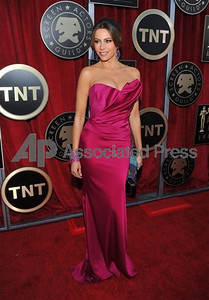 Actress Sofia Vergara wears a custom raspberry silk satin crepe sculpted fishtail gown by Marchesa at the Screen Actors Guild Awards at the Shrine on Jan. 29, 2012.     Vince Bucci The Associated Press