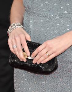Actress Jenna Fischer wears Katerine Maxine diamond bracelets to the Screen Actors Guild Awards at the Shrine Auditorium on Jan. 30, 2011.
