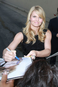"Actress Jennifer Morrison wears Arunashi White moonstone and diamond earrings and a KumKum Paradise Night black zircon and sterling silver ring for her appearance on ""Jimmy Kimmel Live"" on Sept. 7, 2011."