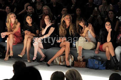 From left, Virginia Williams, Julia Jones, Carrie Preston, Mashiah Vaughn and JoJo watch the Tadashi Shoji presentation at New York's Mercedes-Benz Fashion Week at Lincoln Center on Sept. 8, 2011.