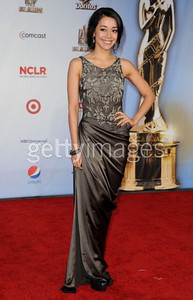Actress Aimee Garcia wears Pamella Roland's French gray tulle and satin gown with gunmetal chain embroidery from the Fall 2011 Collection to the ALMA Awards at the Santa Monica Civic Auditorium on Sept. 10, 2011.