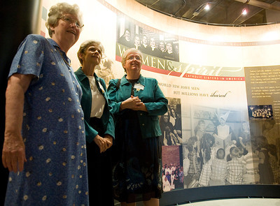 Sisters Helen Garvey, Kathy Stein and AnnCarla Costello view an opening video to the nationally traveling Women & Spirit exhibit on Thursday, June 16, 2011 in Brentwood, Calif. The exhibit opens Sunday, June 19, 2011 at Mount St. Mary's College, and closes on Aug. 14, 2011.  (Maya Sugarman/Staff Photographer)