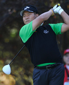 K.J. Choi on the 2nd tee during the second round of The Chevron World Challenge at Sherwood Country Club. Thousand Oaks, CA 12/02/2011(John McCoy/Staff Photographer)