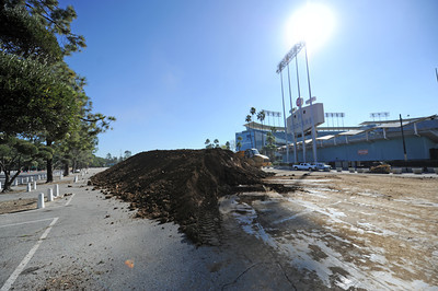 Dirt outside of Dodger Stadium for work on the the Monster Energy Supercross Track inside the stadium in preparation for two upcoming motor sports events the Monster Energy Supercross race Saturday, January 22 followed by the Advance Auto Parts Monster Jam event on Saturday, February 19, 2011. 550 truckloads of dirt where dumped onto the field at the stadium to build the race track. (Hans Gutknecht/Staff Photographer)