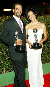 HOLLYWOOD, CA - MARCH 6: Outstanding Actress in a Daytime Drama Series Winner Victoria Rowell and Outstanding Actor in a Daytime Drama Series Winner  Kristoff St. John at the 35th Annual NAACP Image Awards held at the Universal Amphitheatre, March 6, 2004 in Hollywood California. (Photo by Frederick M. Brown/Getty Images)