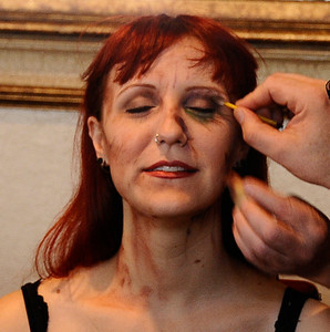 Model Mandi Moss is transformed into a zombie with just using house hold products in 30 minutes during the worldÕs first ÒAliens to ZombiesÓ Convention, a two day-long look at monsters and the post-apocalyptic world.    The event, open to the public, takes place on October 21-22, at HollywoodÕs legendary, ÒhauntedÓ Roosevelt Hotel.  A highlight of the event will be the revival of MastersÕ infamous ÒMonster-Makers BashÓ costume party, which annually attracts the industryÕs top special effects artists. Hollywood CA.  Photo by Gene Blevins/LA DailyNews