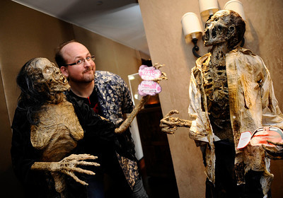 Emmy Award winning special effects artist Todd Masters, founder of MASTERSFX, poses with some of his best zombie makeup work, as he teamed up for the worldÕs first ÒAliens to ZombiesÓ Convention, a two day-long look at monsters and the post-apocalyptic world.    The event, open to the public, takes place on October 21-22, at HollywoodÕs legendary, ÒhauntedÓ Roosevelt Hotel.  A highlight of the event will be the revival of MastersÕ infamous ÒMonster-Makers BashÓ costume party, which annually attracts the industryÕs top special effects artists.  Hollywood CA. Photo by Gene Blevins/LA DailyNews