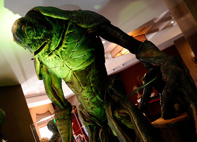 Some of the many movie/TV props on display during the worldÕs first ÒAliens to ZombiesÓ Convention, a two day-long look at monsters and the post-apocalyptic world.    The event, open to the public, takes place on October 21-22, at HollywoodÕs legendary, ÒhauntedÓ Roosevelt Hotel.  A highlight of the event will be the revival of MastersÕ infamous ÒMonster-Makers BashÓ costume party, which annually attracts the industryÕs top special effects artists.  Hollywood CA. Photo by Gene Blevins/LA DailyNews