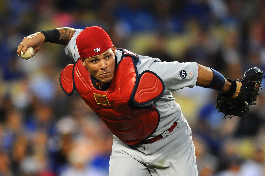 . Cardinals catcher Yadier Molina throws out Dodgers Enrique Hernandez after fielding a bouncer in front of the plate. (Photo by Michael Owen Baker/L.A. Daily News)