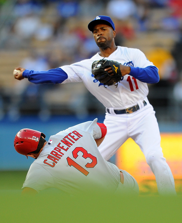. Dodgers shortstop Jimmy Rollins forces out the St. Louis Cardinals\' Matt Carpenter at second base, Thursday, June 4, 2015, at Dodger Stadium. (Photo by Michael Owen Baker/L.A. Daily News)