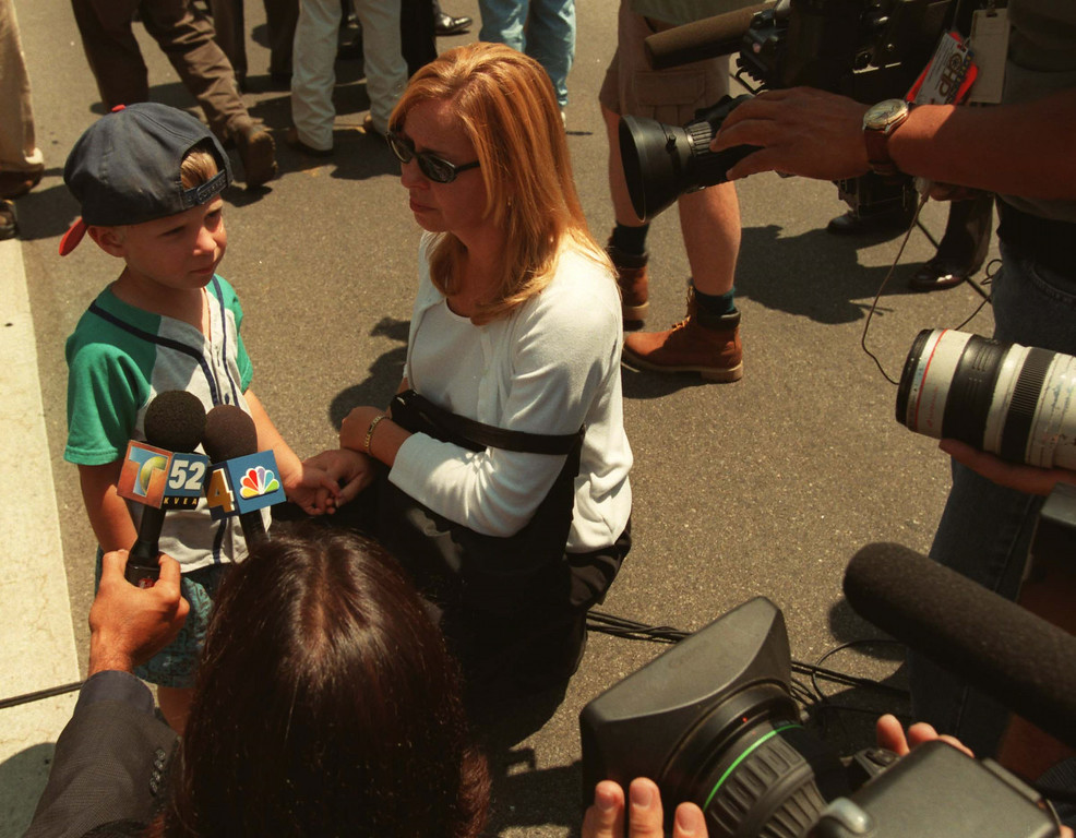 . David Macalas, 3, speaks with media. He was inside when the shooting occurred. Five victims, three male children and two female adults, were shot at the North Valley Jewish Community Center in Granada Hills, California Tuesday morning, August 10, 1999.   Los Angeles Daily News file photo.