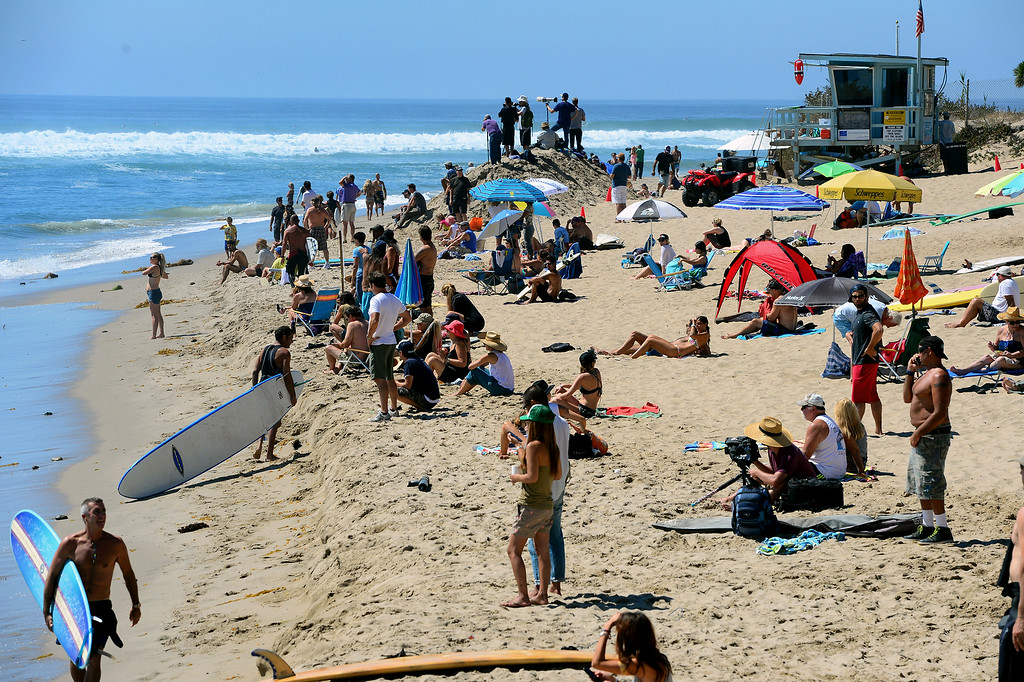 . People watch the waves and surfers at Surfrider Beach in Malibu, Wednesday, August 27, 2014. (Photo by Michael Owen Baker/Los Angeles Daily News)