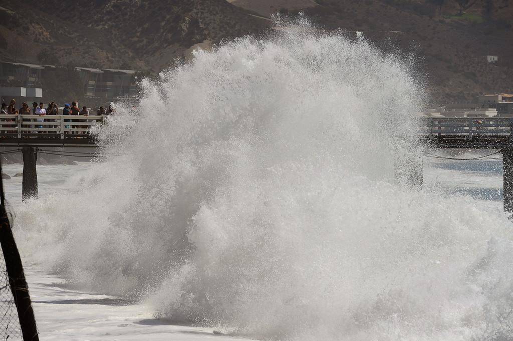 . Waves pound the shore near the Malibu Pier, Wednesday, August 27, 2014. (Photo by Michael Owen Baker/Los Angeles Daily News)