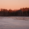 Last light paints the treetops across the pond... the ice is back! January 3, 2011.