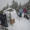 David and Coco, Judy, Linda and Blue, cold, wind and fog on Mount Avalon… April 19, 2014.