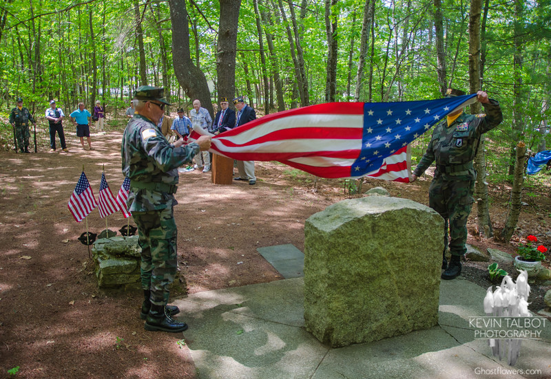 Flag Ceremony at site of B-24 plane wreck in Uxbridge, MA. Seven men were on board that day only two survived. I attend yearly to tell the story of how my father's life was saved by a silk parachute… May 17, 2015.