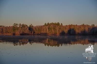 Long shadows and reflections at last light on the Powow… November 9, 2015.