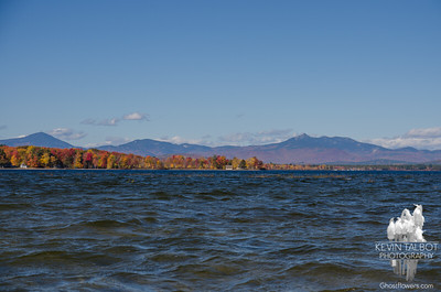 Today  looking north from the sandbar on Ossipee Lake- Passaconaway, Paugus and Chocorua... October 19, 2016.