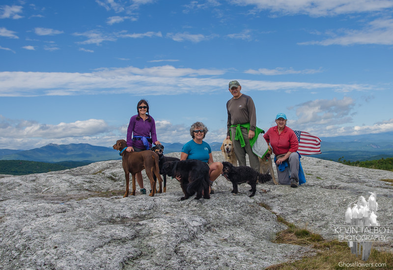 Cath with Smokey & Jade-Judy with Stella & Malachi-Pat & Audrey with Leo & Gio- 911 Commemoration on Foss Mountain... September 11, 2016.