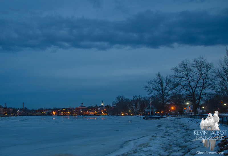 Blue Hour-Across the Squamscott River to downtown Exeter from Swasey Park… January 26, 2016.