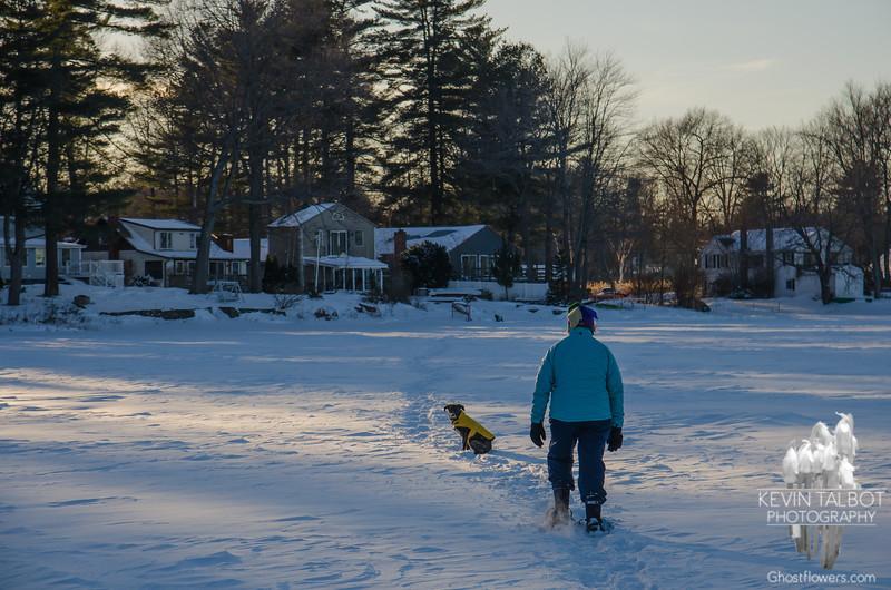 Long shadows as we snow-shoe home... February 10, 2017.