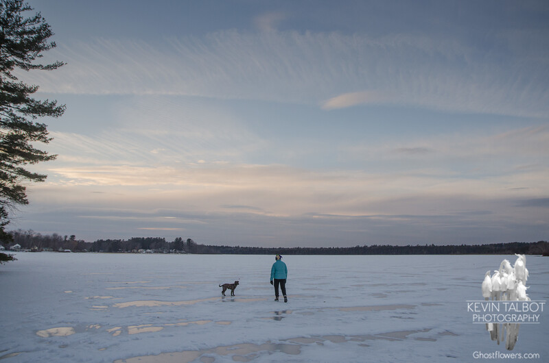 Walking at day's end on the frozen Powow... February 5, 2017.