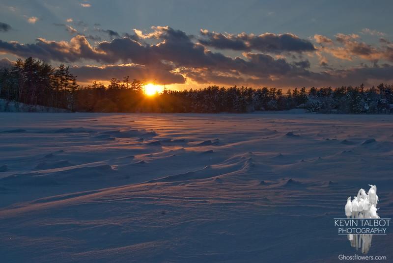 Sunset over Great Pond (Kingston Lake)... January 21, 2011.