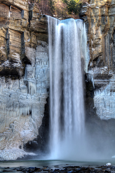 March 30 - Taughannock Falls near Ithaca, NY.  215 feet of vertical drop into a 30 foot plunge pool.  I love the ice formations around the sides of the falls.