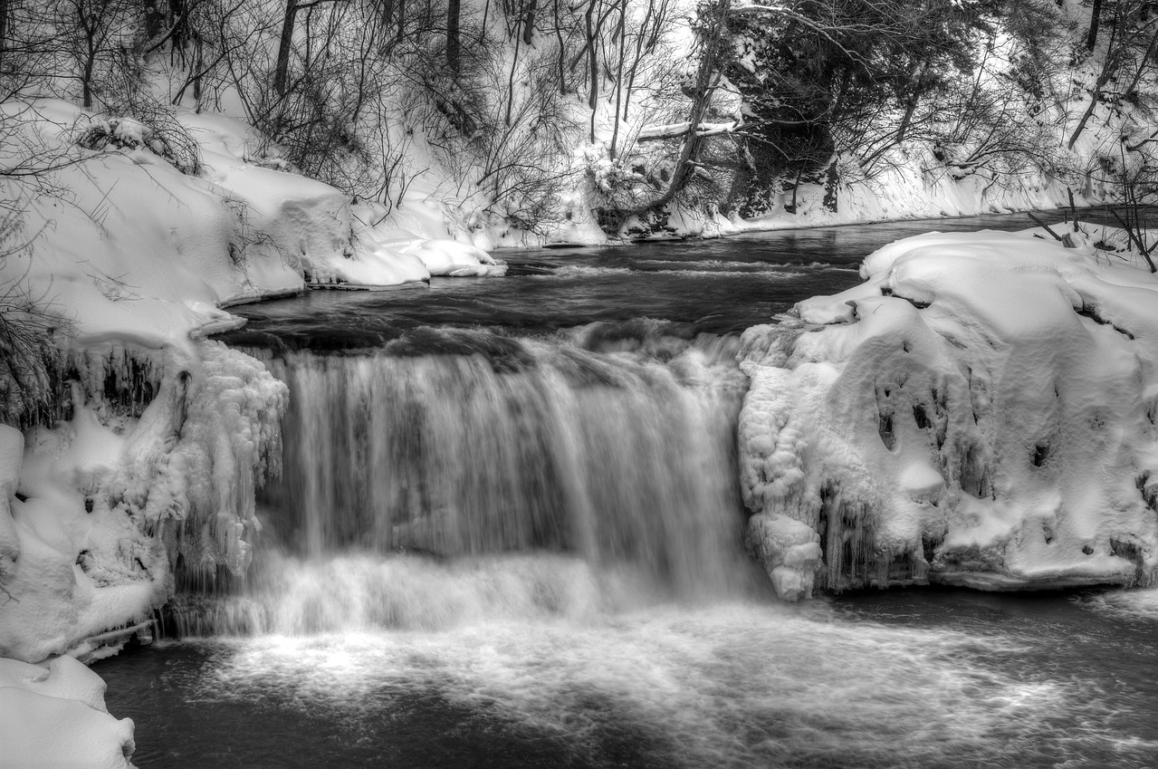 March 9 - Black and white of Upperville Falls, Smyrna, NY.  Flood potential coming up later this week.