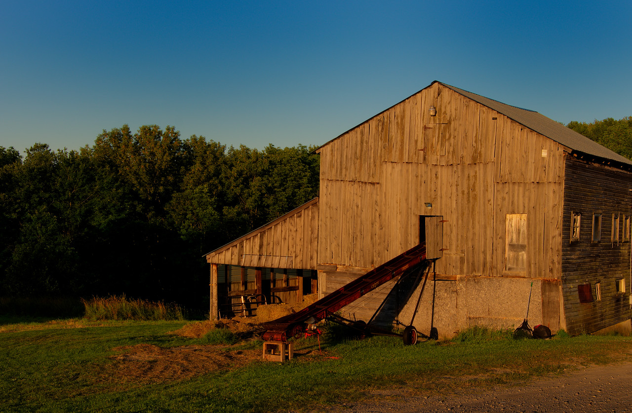 July 10 - Early morning sun on a barn around my block.