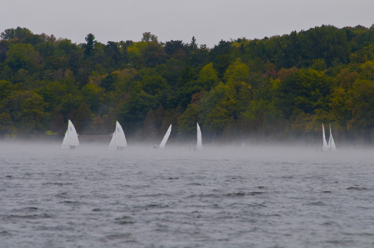 October 1 - Sailing in the fog on Cazenovia Lake.