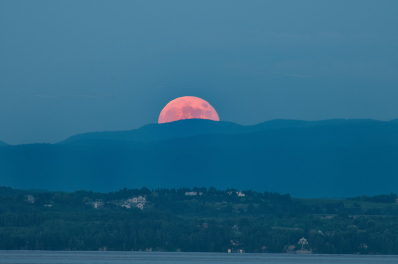 July 15 - Full moon rising over the Green Mountains of Vermont.  Taken from Willsboro, New York looking across Lake Champlain.