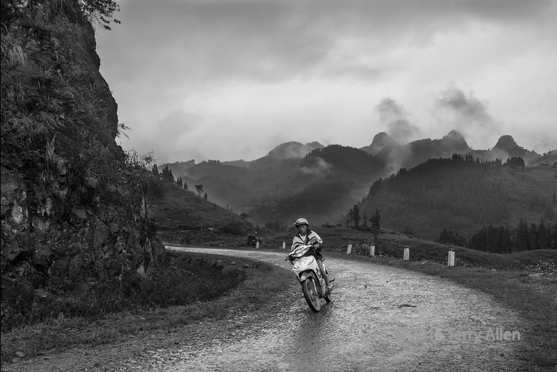Rainy day with motorbike