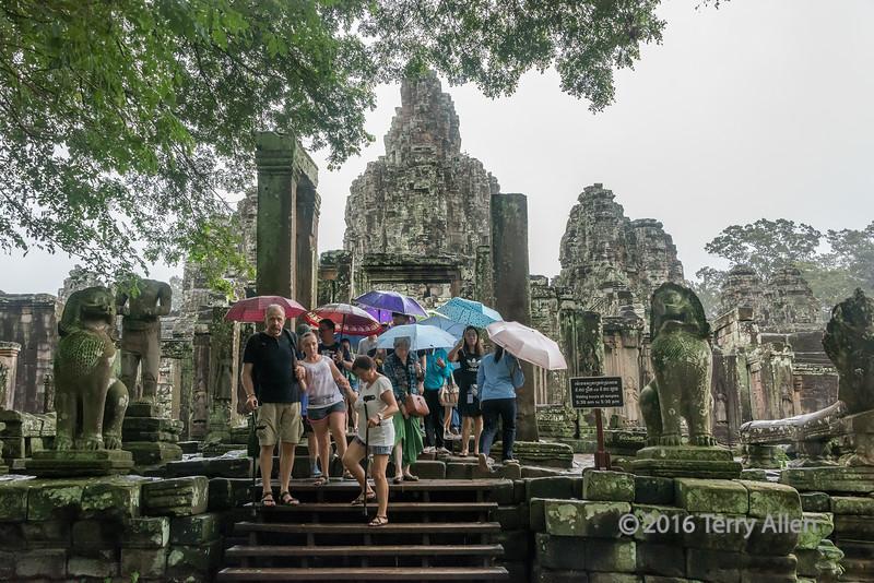 Bayon temple in the rain