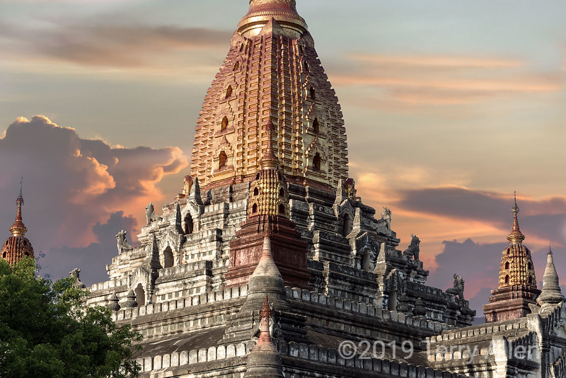 Ananda Temple near sunset, Bagan, Myanmar<br /> <br /> Ananda Temple is a revered masterpiece of Mon architecture, and is the largest, finest,  and best preserved of the Bagan temples. Built around 1105, this perfectly proportioned temple signals the stylistic end of the Early Bagan period (1044-1113) and the beginning of the Middle period. It was damaged in the 1975 earthquake and has now been restored.