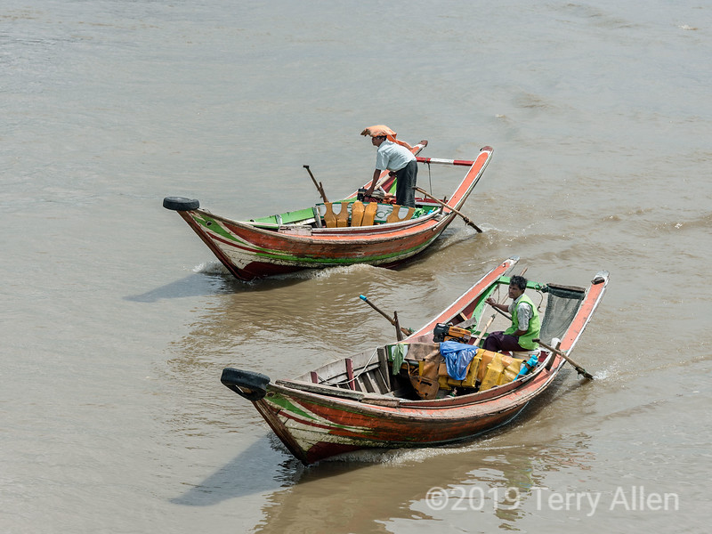 "Pair of long-tail boats on the Irrawaddy River, Yangon, Myanmar<br /> <br /> The photo is now cropped thanks to the suggestion of Louise and Diane.  The new version can be found here: <a href=""http://goo.gl/ktpuu"">http://goo.gl/ktpuu</a>"