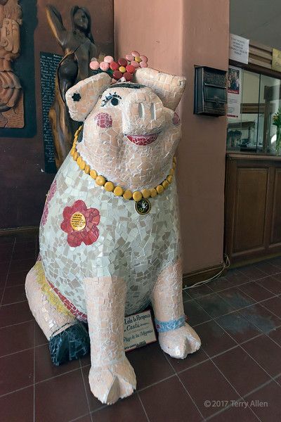 Folk art pig in the style of Frida Kahlo