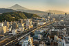 Mount Fuji and a Shinkansen